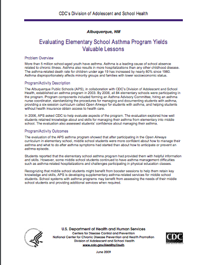 Evaluating Elementary School Asthma Program Yields Valuable Lessons