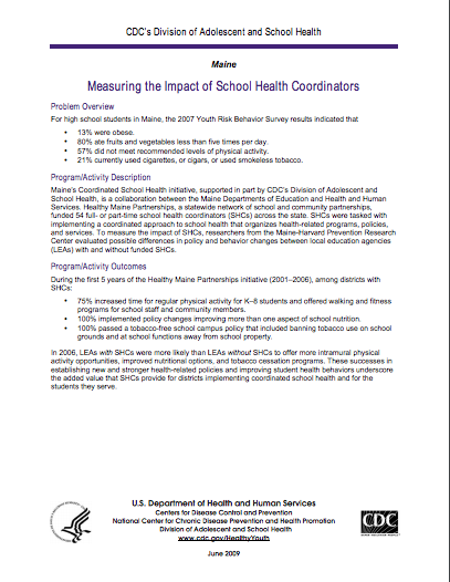 Measuring the Impact of School Health Coordinators