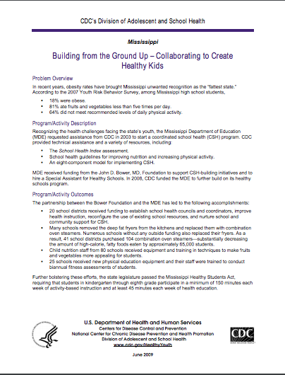 Building from the Ground Up – Collaborating to Create Healthy Kids
