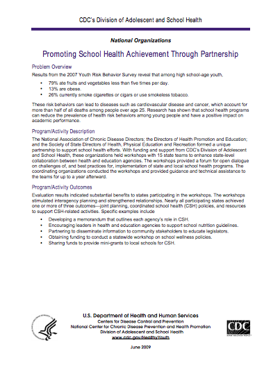 Promoting School Health Achievement Through Partnership