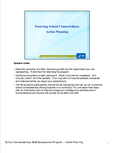 Fostering School Connectedness: Action Planning (Administrators)