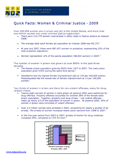 Quick Facts: Women & Criminal Justice – 2009