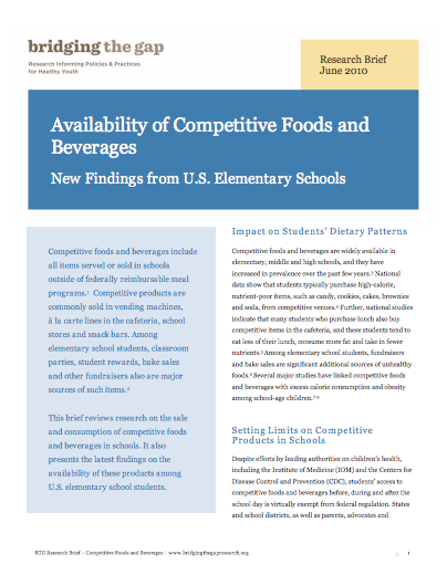 Availability of Competitive Foods and Beverages