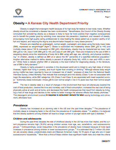 Obesity – A Kansas City Health Department Priority