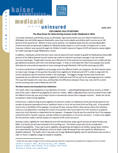 Explaining Health Reform: The New Rules for Determining Income Under Medicaid in 2014