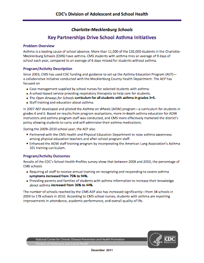 Key Partnerships Drive School Asthma Initiatives