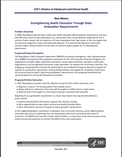 Strengthening Health Education Through State Graduation Requirements