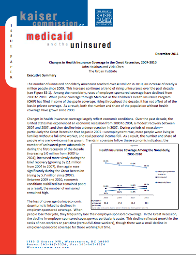 Changes in Health Insurance Coverage in the Great Recession, 2007-2010