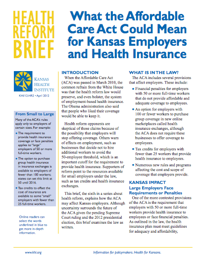 What the Affordable Care Act Could Mean for Kansas Employers and Health Insurance