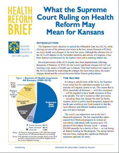 What the Supreme Court Ruling on Health Reform May Mean for Kansans