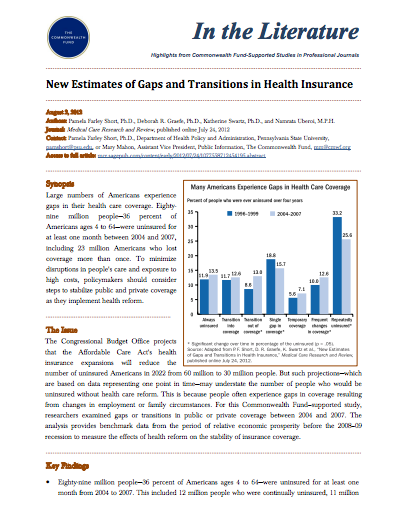 New Estimates of Gaps and Transitions in Health Insurance