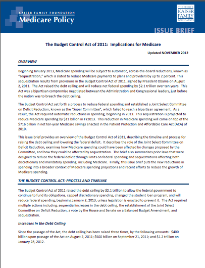The Budget Control Act of 2011: Implications for Medicare