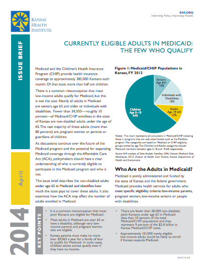 Currently Eligible Adults in Medicaid: The Few Who Qualify