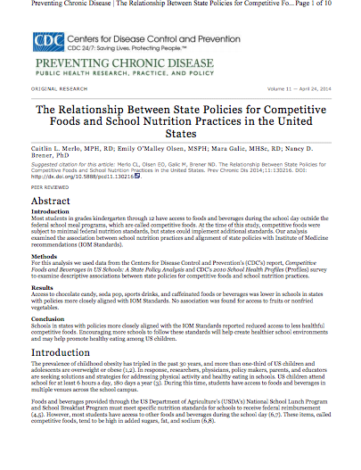 The Relationship Between State Policies for Competitive Foods and School Nutrition Practices in the United States
