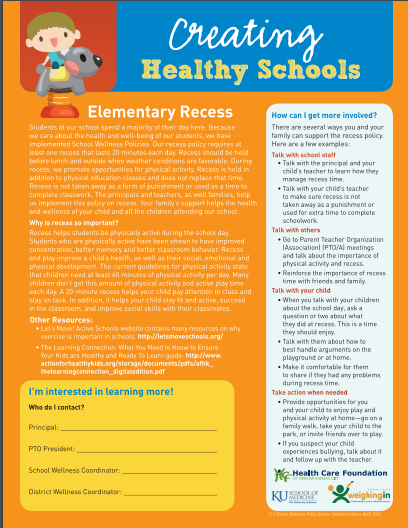 Creating Healthy Schools: Elementary Recess (Family)