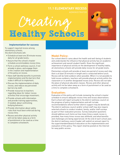 Creating Healthy Schools: Elementary Recess (Administrator(
