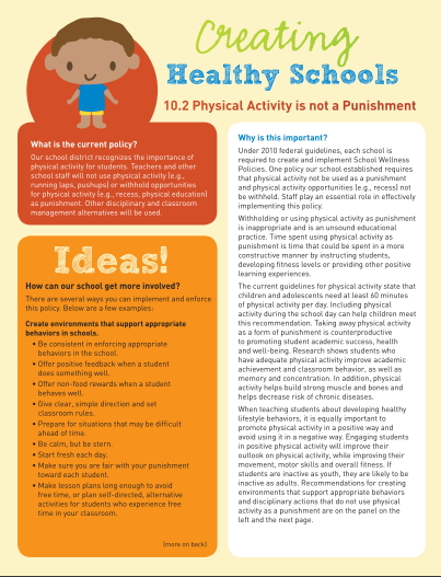 Creating Healthy Schools: Physical Activity Is Not a Punishment