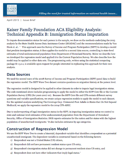 Kaiser Family Foundation ACA Eligibility Analysis: Technical Appendix B: Immigration Status Imputation