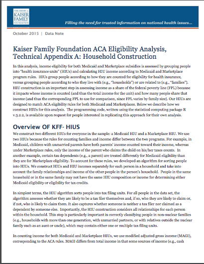 Kaiser Family Foundation ACA Eligibility Analysis, Technical Appendix A: Household Construction