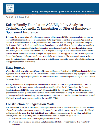 Kaiser Family Foundation ACA Eligibility Analysis: Technical Appendix C: Imputation of Offer of Employer-Sponsored Insurance