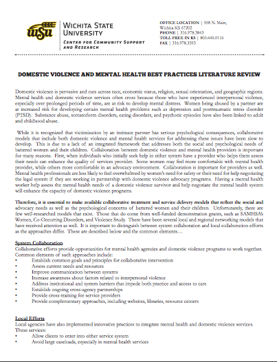 Domestic Violence and Mental Health Best Practices Literature Review