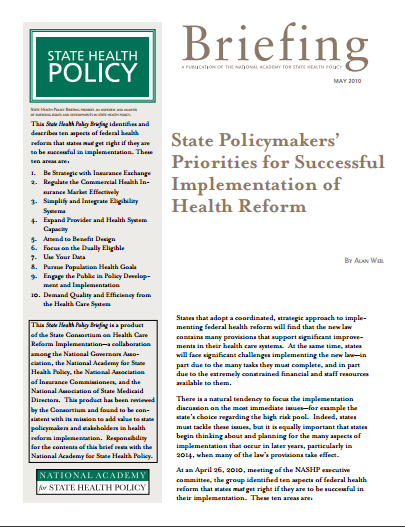 State Policymakers' Priorities for Successful Implementation of Health Reform