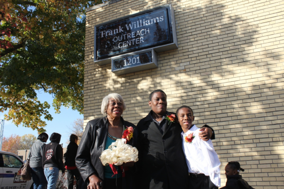 Leona Williams (from left) and grandsons Frank Williams Jr. and Finley Williams at the dedication of the Frank Williams Outreach Center.