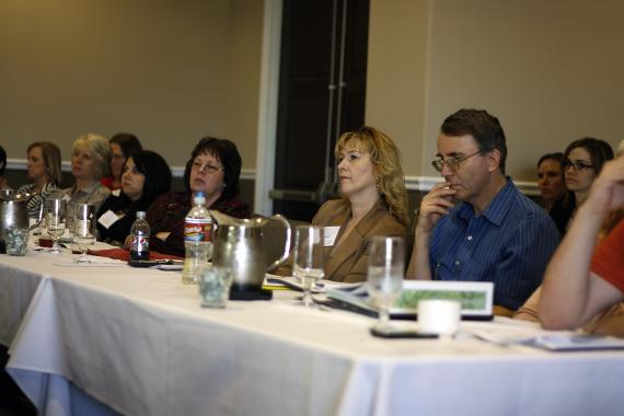 MoHealthWINs grant partners listen to a presentation on engaging employers to make the grant project successful. Members from 13 community and technical colleges in Missouri participated in the March summit at Lake of the Ozarks.