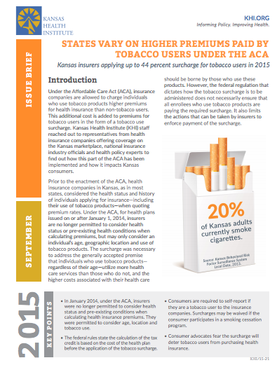 States vary on higher premiums paid by tobacco users under the ACA