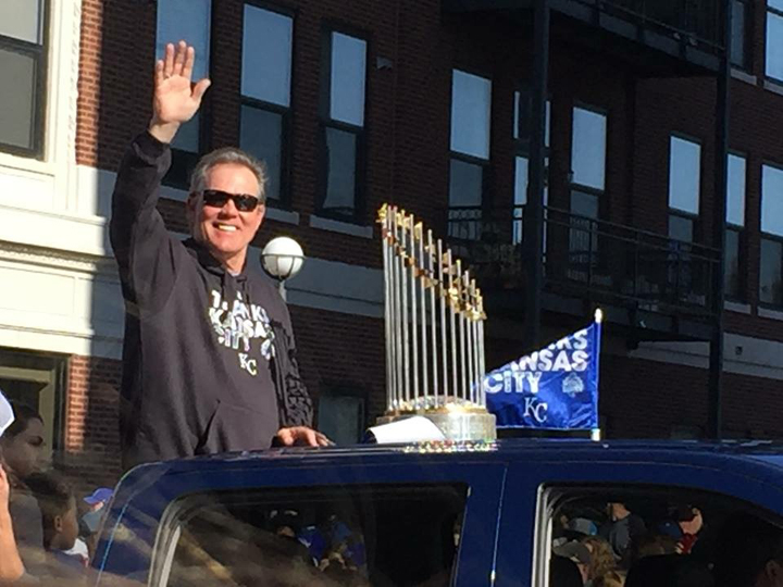 Royals manager Ned Yost and World Series trophy