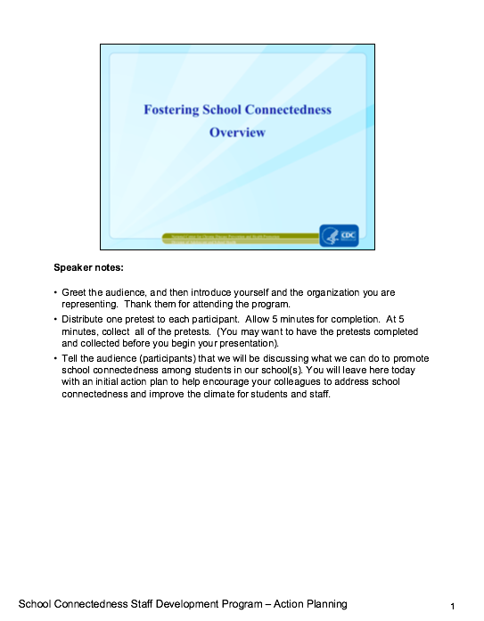 Fostering School Connectedness: Overview