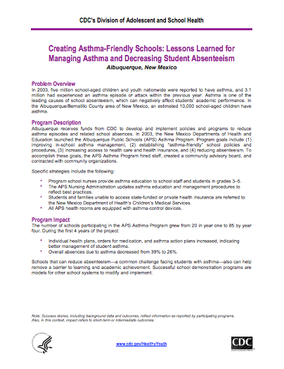 Creating Asthma-Friendly Schools: Lessons Learned for Managing Asthma and Decreasing Student Absenteeism