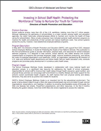 Investing in School Staff Health: Protecting the Workforce of Today to Nurture Our Youth for Tomorrow