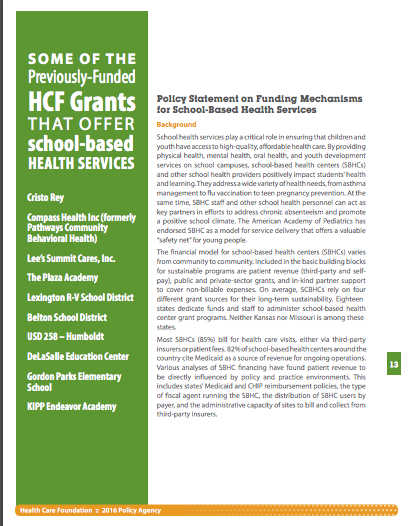 Policy Statement on Funding Mechanisms for School-Based Health Services
