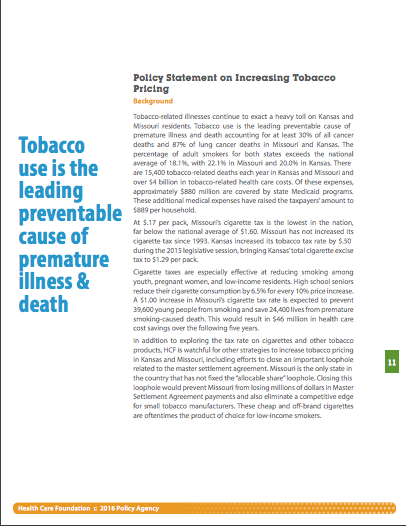 Policy Statement on Increasing Tobacco Pricing