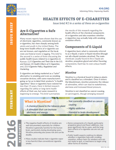 Health effects of e-cigarettes: Issue brief #2 in a series of three on e-cigarettes