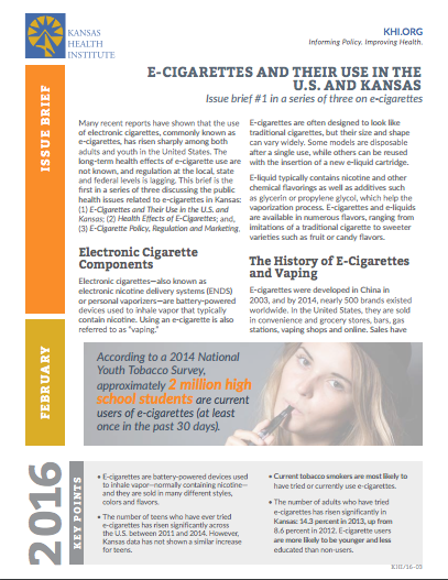 E-cigarettes and their use in the U.S. and Kansas: Issue brief #1 in a series of three on e-cigarettes