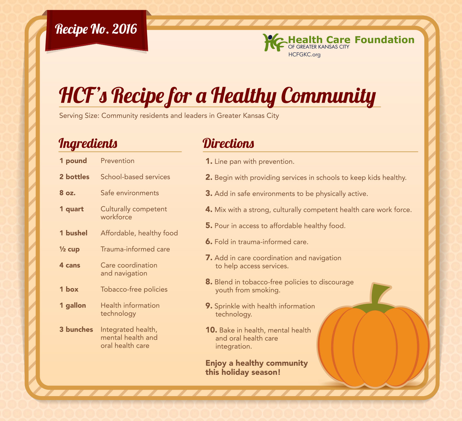 HCF's Recipe for a Healthy Community